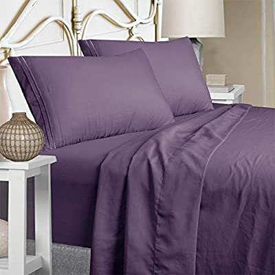 Mejoroom Full Bed Sheet Set - Super Soft Brushed Microfiber 1800 Thread Count Full Sheets with 15 inch Deep Pocket - Wrinkle Free - Breathable and Hypoallergenic - 4 Piece(Full, Purple)