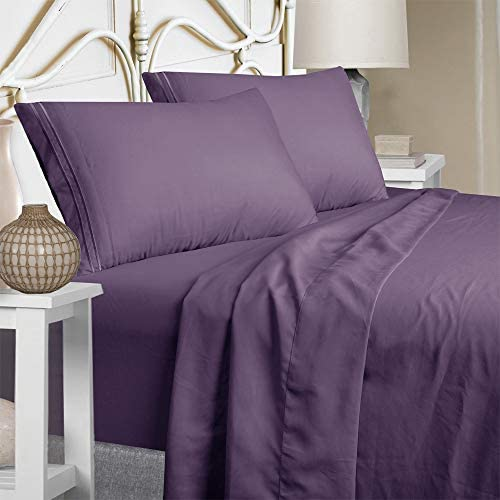 Queen Size Sheet Set – Extra Soft Luxury Brushed Microfiber 1800 Thread Count Percale Egyptian Sheets with 15-inch Deep Pocket – Wrinkle Fade and Hypoallergenic – 4 Piece (Queen, Purple)