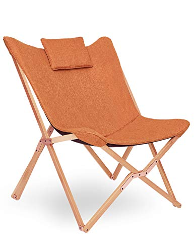 Butterfly Chair Comfy Folding Chair Modern Foldable Lounge Seat Sofa Armchair Comfortable Recliner Portable Relaxer for Garden Patio Camping with Removable Cushion Solid Wood Frame (Orange)