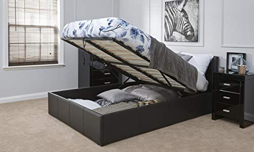 Caspian Ottoman Gas Lift Up Storage Bed Black Brown White (Black, 4ft Small Double)
