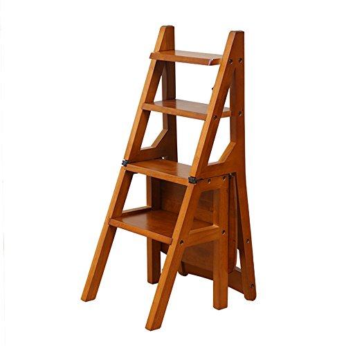 MEIDUO Durable Selles Chaise pliante en bois Plier vers le haut Bibliothèque Steps Ladder Chair Utilisation de bureau de cuisine pour intérieur extérieur (Couleur : Couleur du miel)