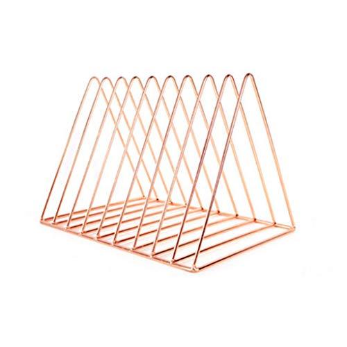 LYLY Sujetalibros de escritorio Caja de almacenamiento de archivo/decoración exquisita con 9 compartimentos (color: oro rosa)