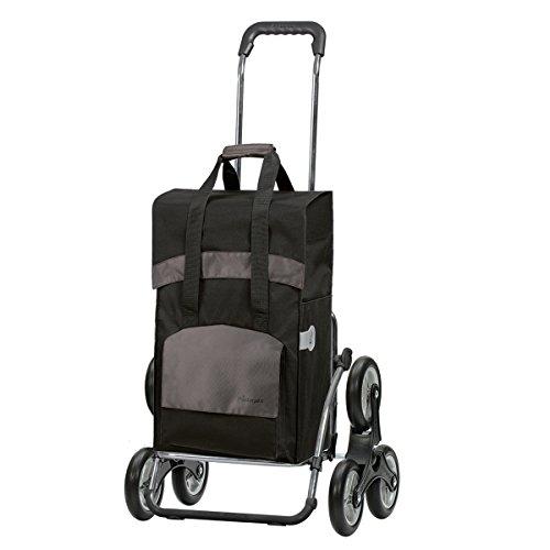 Andersen Einkaufstrolley Royal als Treppensteiger und Einkaufstasche Holly schwarz/braun 49 Liter Einkaufswagen Stahlgestell klappbar