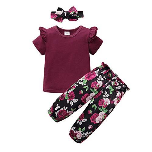 ZOEREA Baby Mädchen Kleidung Set Rüschen Schulter Langarm Kurzarm Tops + Blumen Hose + Bogen Stirnband Neugeborene Kleinkinder Babykleidung Outfits Set