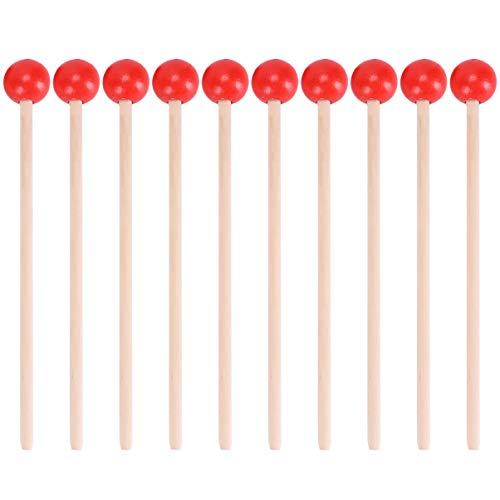 Holibanna Palos de Percusión de Madera Mazos de Xilófono Baquetas de Percusión Palos de Percusión Martillo Accesorio de Percusión con Mango de Madera para Niños Pequeños 12 Piezas