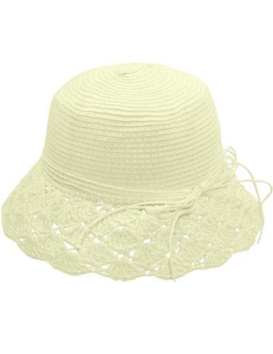 Dahlia Women's Summer Sun Hat - Crochet Brim String Bow Straw Hat - Cream