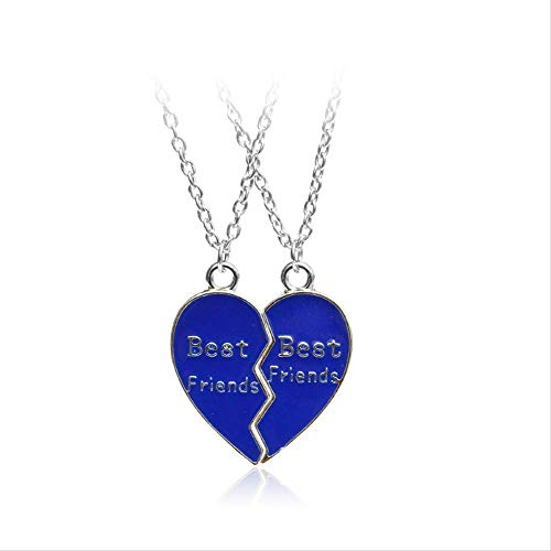 usstore friend necklaces women ACCTSY Fashion Jewelry Pink Blue Charm 1Pair Half Love Heart Pendant Best Friends Necklace Blue for Men and Pink for Women Blue