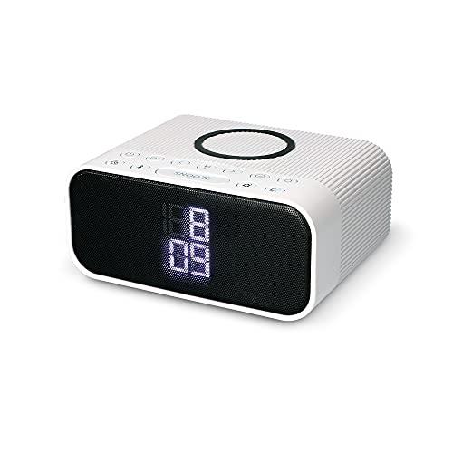 Desperador Cargador inalámbrico 10W, Altavoz Bluetooth, Radio FM, 2 Alarmas, 3 intensidades luz, Tecnología Qi, Blanco