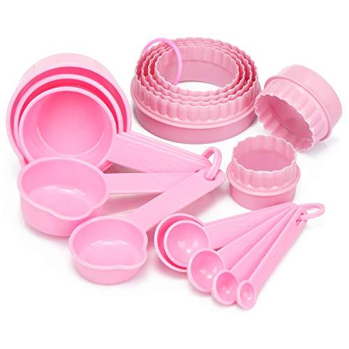 com-four® 16-teiliges Back- und Küchen-Set mit Messlöffel und Ausstechformen - Dosierlöffel und Backformen zum Kochen (16-teilig - rosa)