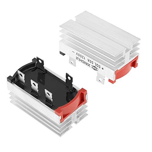 Puente rectificador, 2pcs Puente rectificador Diodo de 3 fases 50 Amp 1200 V Aluminio con buena disipación de calor