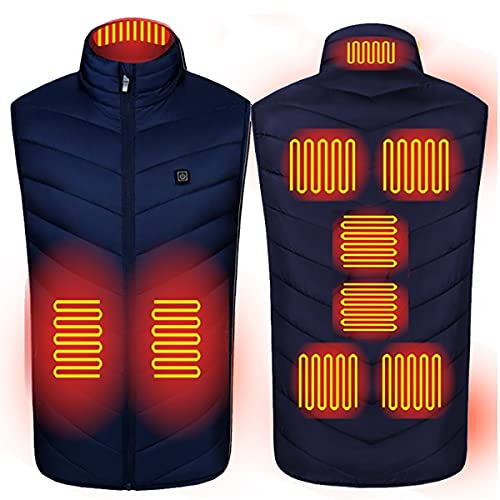 SXZSB Moda De Chaqueta Calentada Abrigo De Hombres Inteligentes Chaleco Calefactable Calefacción Eléctrica USB para Hombres/Mujeres, Ligero. Ropa Climatizada Lavable,Azul,M
