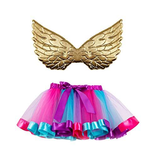 Halloween vestito bambina,Costume Da Bambina Tutu Party Dance Balletto + Set Ala Costume a due pezzi,VRTYOC costume Sfilata di moda Angelo Costume da elfo COSPLAY Luminoso Rosa M