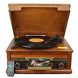 Kengsiren Retro Fonógrafo Pequeño Madera Tocadiscos De Vinilo Reproductor De CD Grabar Radio Bluetooth Altavoz Salón Antigua De América