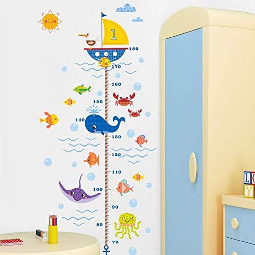 Sticker Mural Mesure De Hauteur,L'Underwater World Sea Whale Cartoon Animal Poisson Mesure Hauteur Mural Pour Chambre D'Enfant Tableau De Croissance Accueil Mode Autocollants Décoration Murale Poste