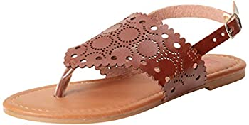 Beverly Hills Polo Club Girls Laser Cut Thong Sandals Brown Size 4 Big Kid