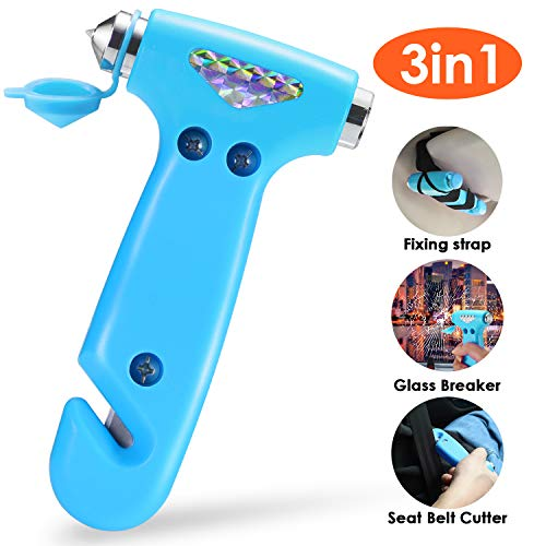 THINKWORK Car Safety Hammer for Teen Boy and Men's Gifts, Blue Three-in-One Emergency Escape Tool with Window Breaker and Seat Belt Cutter, Safety Emergency Car Escape Tool for Family and Children.