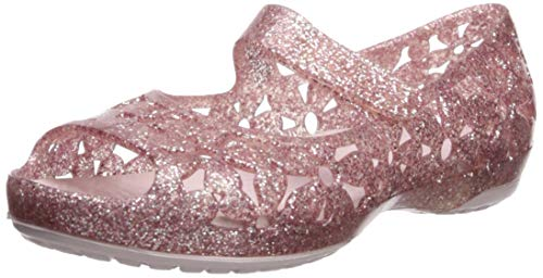 Crocs Girls' Isabella Flower Flat Ballet, barely pink, 11 M US Little Kid