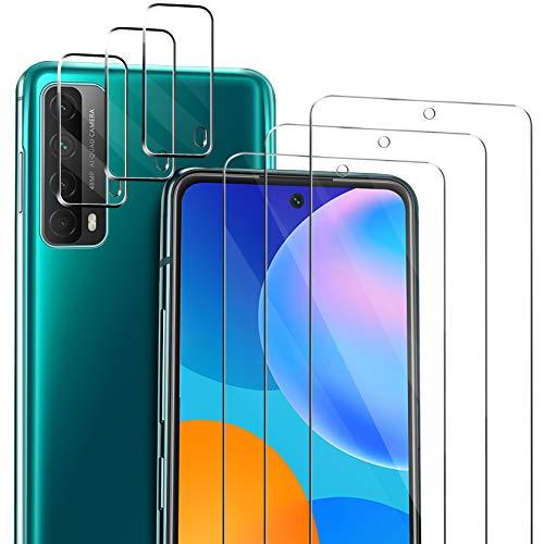 ivencase Compatible con Huawei P smart 2021 Protector de Pantalla, 3 Pack Cristal Templado y 3 Pack Protector de Lente de cámara