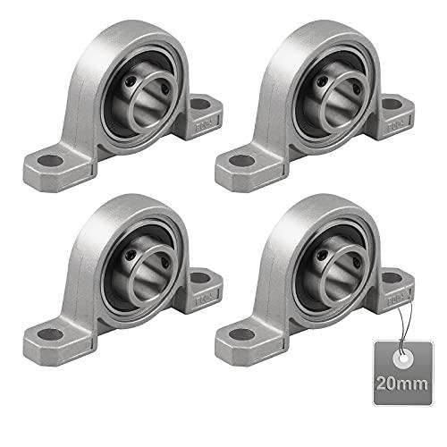 EXLECO 4 Piezas Rodamientos de Cojinetes, Base de Cojinete de Zinc, Rodamientos de Cojinetes con Soporte, Cojinete de Bloque de Almohada, para Impresora 3D (20mm)