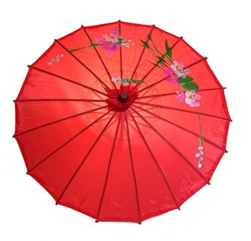 AAF Nommel®, Sonnenschirm 001, Dekoschirm aus Kunstfaser, Wasserfest in rot aus Bambus