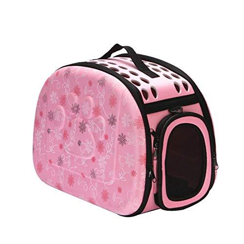 Bolsa para mascotas, bolsa de viaje para gatos, bolsa de viaje plegable, bolsa de viaje para gatos o cachorros, bolsa de hombro para mascotas S / M / L-rosa