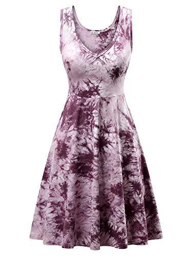 HUHOT Tie Dye Midi Sun Dresses Junior Petitie Cute Dresses Vavation Sexy Beach Sundress Purple M