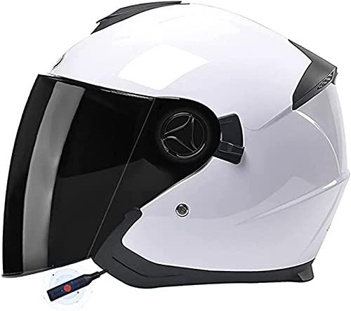 Bluetooth Casco de Moto Retro Adultos Cascos de Moto Jet Casco de Seguridad Personalidad Medio Casco de Moto Vintage,para Street Bike Cruiser Chopper Motocicleta Casco O,54-59M