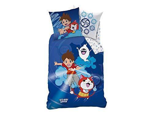 CTI dekbedovertrek Yo-Kai Watch Gang Kids Katoen Blauw 140 x 200 cm + kussensloop 63 x 63 cm