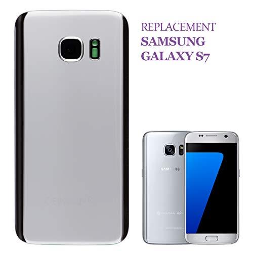 Swark Tapa de batería Backcover Compatible con Samsung Galaxy S7 G930F Silver Tapa de batería con Marco Decorativo para la cámara (sin Cristal) y Cubierta de Flash