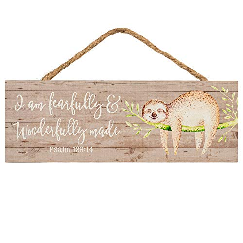 Fearfully & Wonderfully Made Sloth Grey 10 x 3.5 Inch Wood Slat Hanging Wall Sign