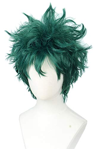 Linfairy Short Green Curly Wig Halloween Costume Cosplay Wig