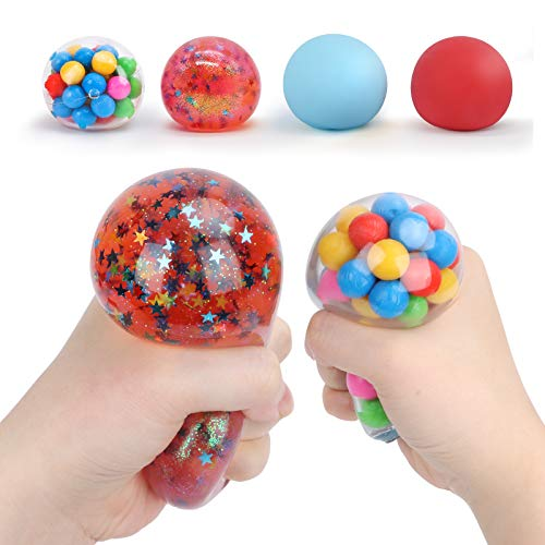 Squishy Stress Balls Toy, TOYCRAZ Stress Relief Balls (4-Pack) for Kids Adults Teens, Colorful Fidget Sensory Balls for Calm Focus and Hand Exercise