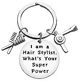 Baixian Funny Hairdresser Gifts Hair Stylist Keychain Hairdresser Jewelry I Am A Hair Stylist Hair Stylist Charm Keychain, Perfect for Salon Owner, Christmas Birthday Graduation Gifts for Hair Stylist, Silver, Small