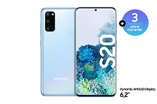 Samsung Galaxy S20 Smartphone Bundle (15,83 cm) 128 GB interner Speicher, 8 GB RAM, Hybrid SIM, Android inkl. 36 Monate Herstellergarantie [Exklusiv bei Amazon] Deutsche Version, cloud blue