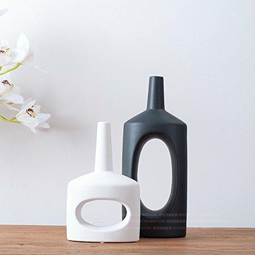 XUQIANG Florero de cerámica Blanco y Negro Flores Sala de Estar TV gabinete decoración hogar Modelo habitación decoración Suave 1 par Artesanía