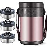 ステンレス鋼 絶縁された ランチジャー 食品容器 真空 サーマルフードフラスコ、ホット&コールドフードランチボックス 学校旅行のキャンプとハイキングに,Without Bag,1.5L