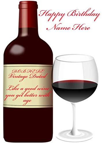pnc45 Aggiungi data di nascita e nome al biglietto di compleanno del vino, può essere creato per qualsiasi evento. Biglietti di auguri personalizzati A5 da Gifts for All 2016 da Derbyshire UK