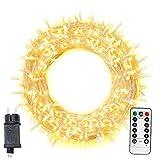 Kacniohen Luz de Navidad 200 LED 20m Enchufe Luces de la Secuencia con el Temporizador de Control Remoto Fiesta de la Boda Yard 8 Modos de cálida decoración Blanca