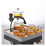 Conjunto de 9/10 Piezas de Conjunto de té de Cristal Perezoso semiautomático de la Oficina de la Oficina Kung Fu Teacup Set Tea Brewing Tea Set ( Size : F )