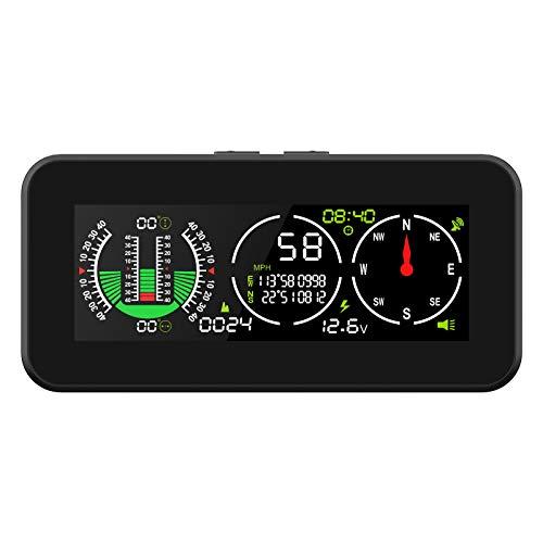 MR CARTOOL M50 Inclinómetro de coche de ángulo digital, Medidor de pendiente inteligente GPS para vehículos autocaravana para todo terreno