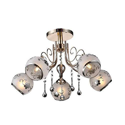 Kroonluchter van Cristallo Moderne vintage hardware corpus en lampenkap van glas met 5 lampjes