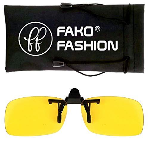 Fako Fashion® - Clip On Voorzet Zonnebril - Small - 125x33mm - Geel