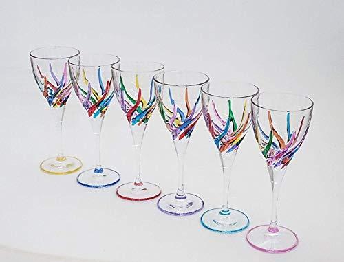 Set von 6 Weinglas Trix cl. 24,6 multicolour von Hand bemalt Glas, Murano Venedig Stil