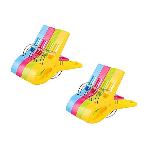 Vicloon 8Pcs Pinzas de Toalla de Playa Grande Fuerte Clips Plástico,Resistente Clips Brillante Color Pinza de la Ropa,Resistentes al Viento,para la Ropa Pesada
