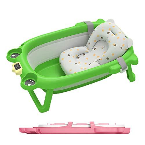 Vasca pieghevole per bambini su piedi con sdraio, sedile da bagno in schiuma, per doccia ultra compatto, con cuscino riduttore e termometro integrato (verde)