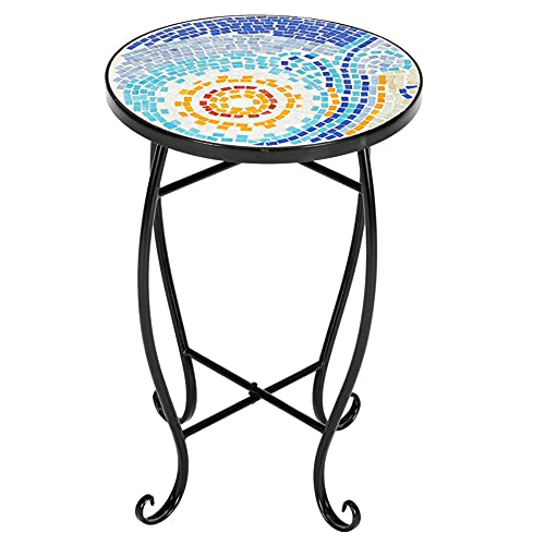 Coffee Tables Blue Hawaiian Inlaid Color Glass Sun Mosaic Round Terrace Bistro Table Garden Coffee Table Decorative Outdoor Dining Furniture
