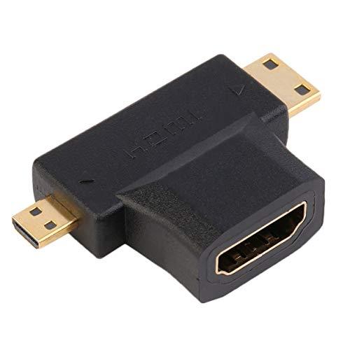 Kongqiabona-UK Negro HDMI Tipo A Hembra a Macho Mini HDMI Tipo C + Adaptador Macho Micro HDMI Tipo D