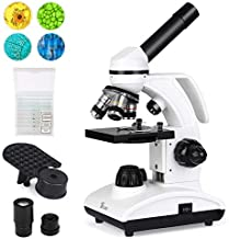 TELMU Microscope 40X-1000X Dual Cordless LED Illumination Lab Compound Monocular Microscopes with Optical Glass Lenses & 10 Slides
