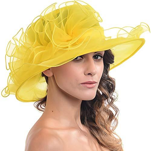 FORBUSITE Kentucky Derby Church Hats for Women Dress Wedding Hat Yellow