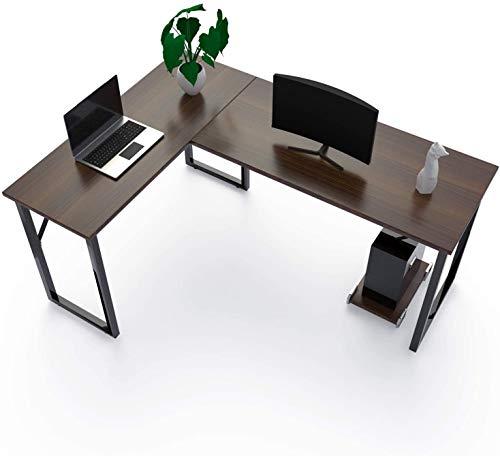 Amzdeal Schreibtisch, Eckschreibtisch L-förmiger Computertisch mit CPU-Unterstützung, Hergestellt aus Hochwertigem Holz, Stahlstütze, Hellem Nussbaum (Dunkle Walnussfarbe)